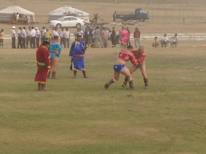 Mongolian wrestling during Naadam