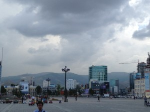The view from Chinggis Khan square in Ulaanbaatar.